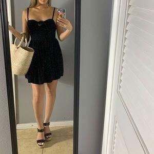 F21 tie front black dress